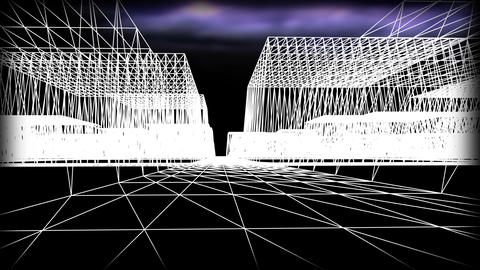 Wireframe Road 01 Stock Video Footage
