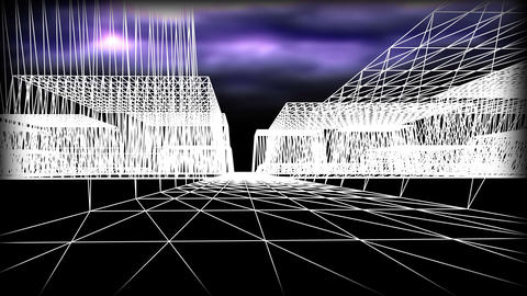 Wireframe Road 01 stock footage