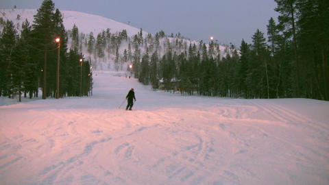 Skier at the end of a slope Stock Video Footage