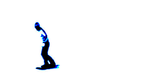 Contrast Snowboarder On A White Background stock footage