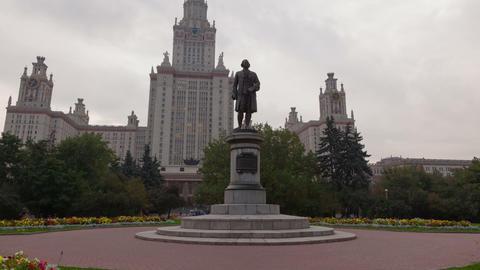 Monument to Lomonosov hyperlapse Stock Video Footage