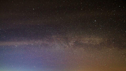 Milky Way rotates around the pole star, then dawn Stock Video Footage