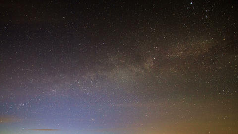 Milky Way Rotates Around The Pole Star, Then Dawn stock footage