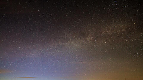 Milky Way rotates around the pole star, then dawn Footage