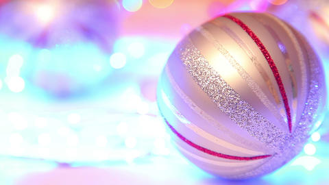 Christmas ball, traditional decoration on defocuse Stock Video Footage