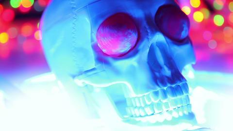 Skull on defocused background, halloween scary hea Stock Video Footage