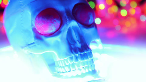 Skull on defocused background, halloween scary hea Stock Video Footage