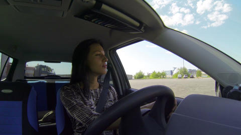 Brunette driving the car Footage