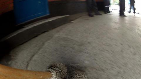 Broom sweeps a road Footage