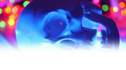 Skull on defocused background, halloween lower thi Stock Video Footage