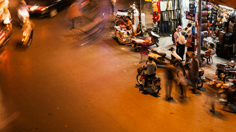 4K - HANOI CYCLO TIME LAPSE - HOAN KIEM, VIETNAM Stock Video Footage