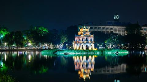 4k - Zoom - Turtle Tower on Hoan Kiem lake - Hanoi Stock Video Footage