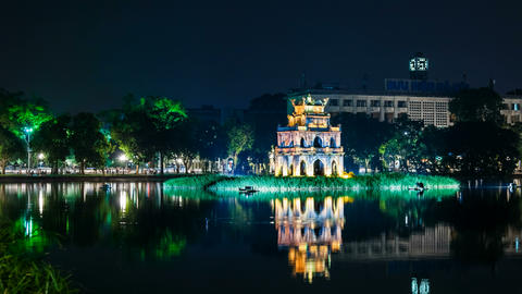 4k - Zoom - Turtle Tower on Hoan Kiem lake - Hanoi Footage