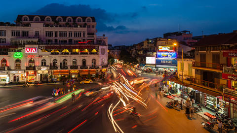 4k - HANOI SUNSET TIMELAPSE - HOAN KIEM DISTRICT Stock Video Footage