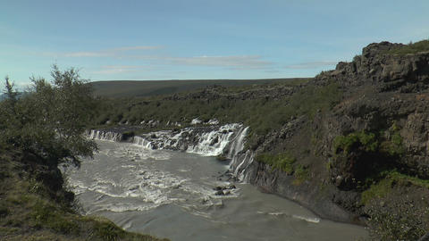 hraunfossar waterfall in iceland long view Stock Video Footage
