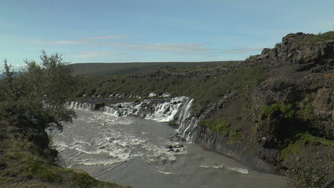 hraunfossar waterfall in iceland long view Footage