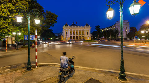 4k - Hanoi Opera House - Time Lapse - Vietnam Stock Video Footage