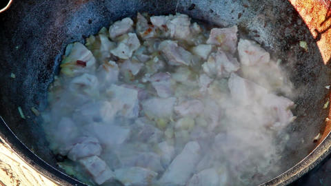 Process of preparation of traditional pilaf Stock Video Footage