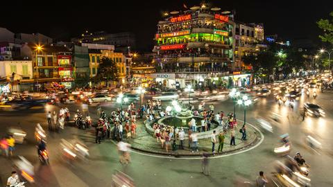 4k - HANOI, VIETNAM - NIGHT TRAFFIC TIME LAPSE Stock Video Footage