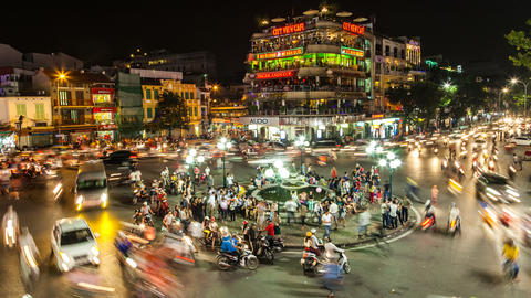 4k - HANOI, VIETNAM - NIGHT TRAFFIC TIME LAPSE Footage