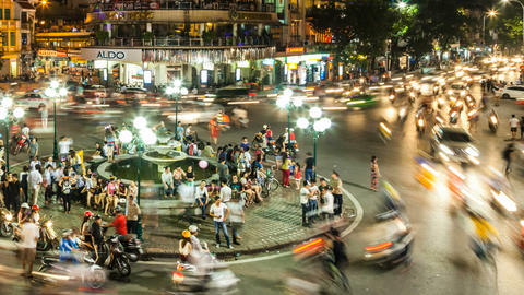 1080 - HANOI, VIETNAM - NIGHT TRAFFIC TIME LAPSE Footage