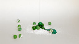 Green candied cherries syrup on icing sugar Stock Video Footage