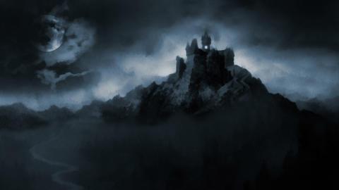 Scary dark castle Stock Video Footage