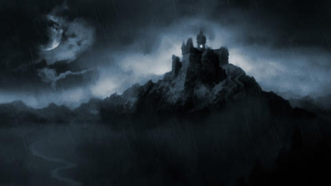 Scary dark castle Stock Video Footage