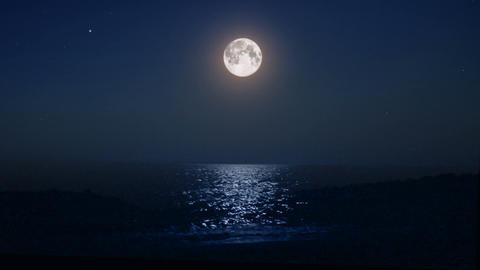 night moon and moonbeam in sea Footage