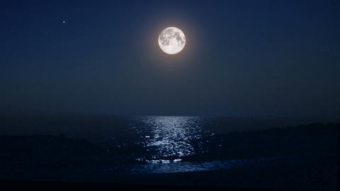 night moon and moonbeam in sea Stock Video Footage