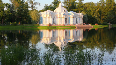 pavilion on lake in Pushkin park St. Petersburg Ru Footage