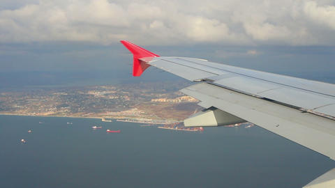 looking on Istanbul from airplane Stock Video Footage
