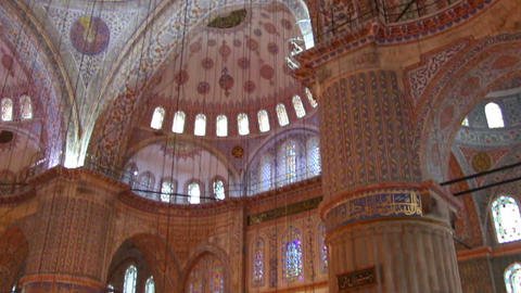 sultanahmet mosque interior in istanbul turkey Stock Video Footage