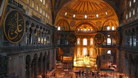 hagia sofia museum interior in istanbul turkey Footage