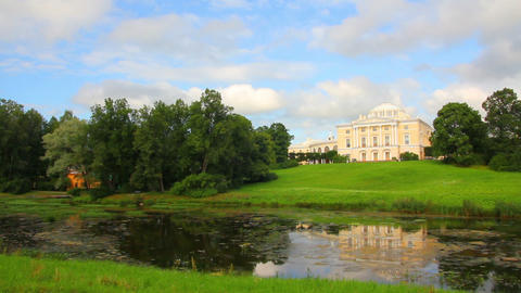 Grand palace on hill in Pavlovsk park Saint-Peters Footage