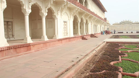 historic buildings in Agra fort - India Stock Video Footage