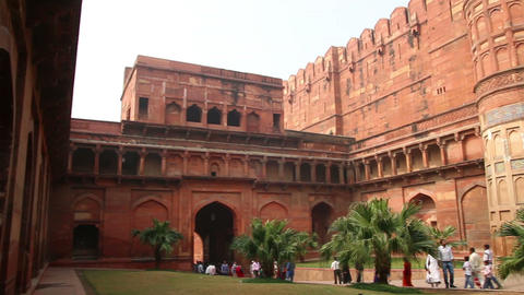 main gates in Agra fort - India Stock Video Footage