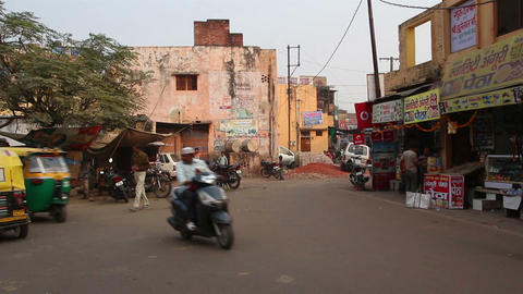 indian street in agra Stock Video Footage