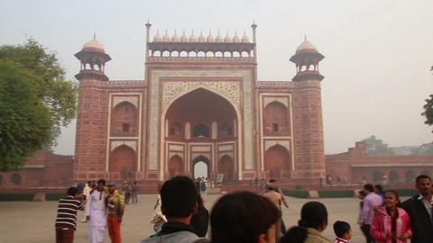 Taj Mahal entrance in Agra India Stock Video Footage