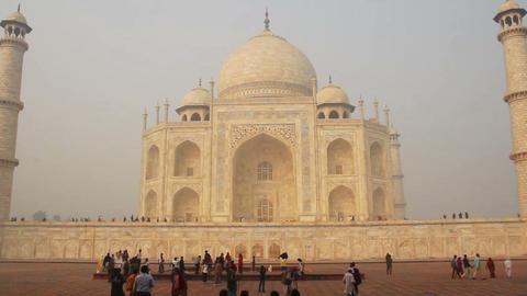 Taj Mahal - famous mausoleum in Agra India Stock Video Footage