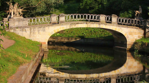 Centaurs bridge in Pavlovsk park Saint-Petersburg Stock Video Footage