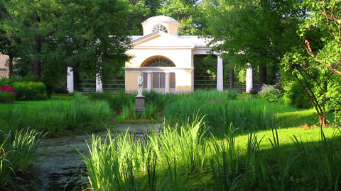 Pavilion With Sculpture In Pavlovsk Park Saint-Pet stock footage