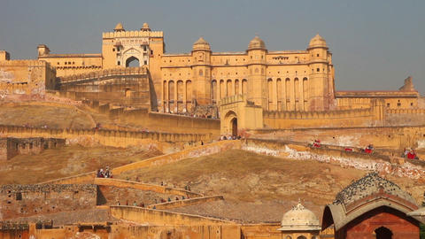 elephants going to fort in Jaipur India - timelaps Stock Video Footage