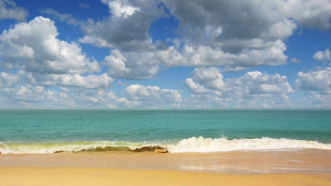 beautiful beach landscape with timelapse clouds in Footage