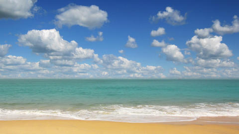 beautiful beach landscape with timelapse clouds in Stock Video Footage