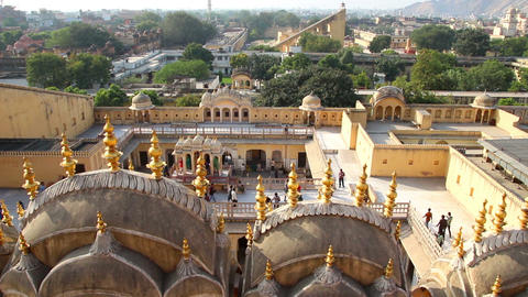 view on Jaipur from Hawa Mahal palace - India Stock Video Footage