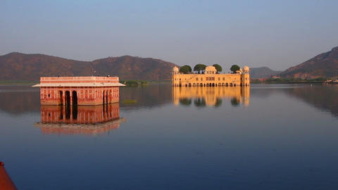 jal mahal - palace on lake in Jaipur India Footage