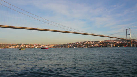 bridge over the Bosphorus Strait in Istanbul Turke Stock Video Footage