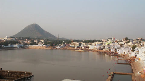 holy lake in Pushkar India Stock Video Footage