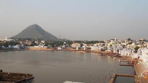 holy lake in Pushkar India Stock Video Footage
